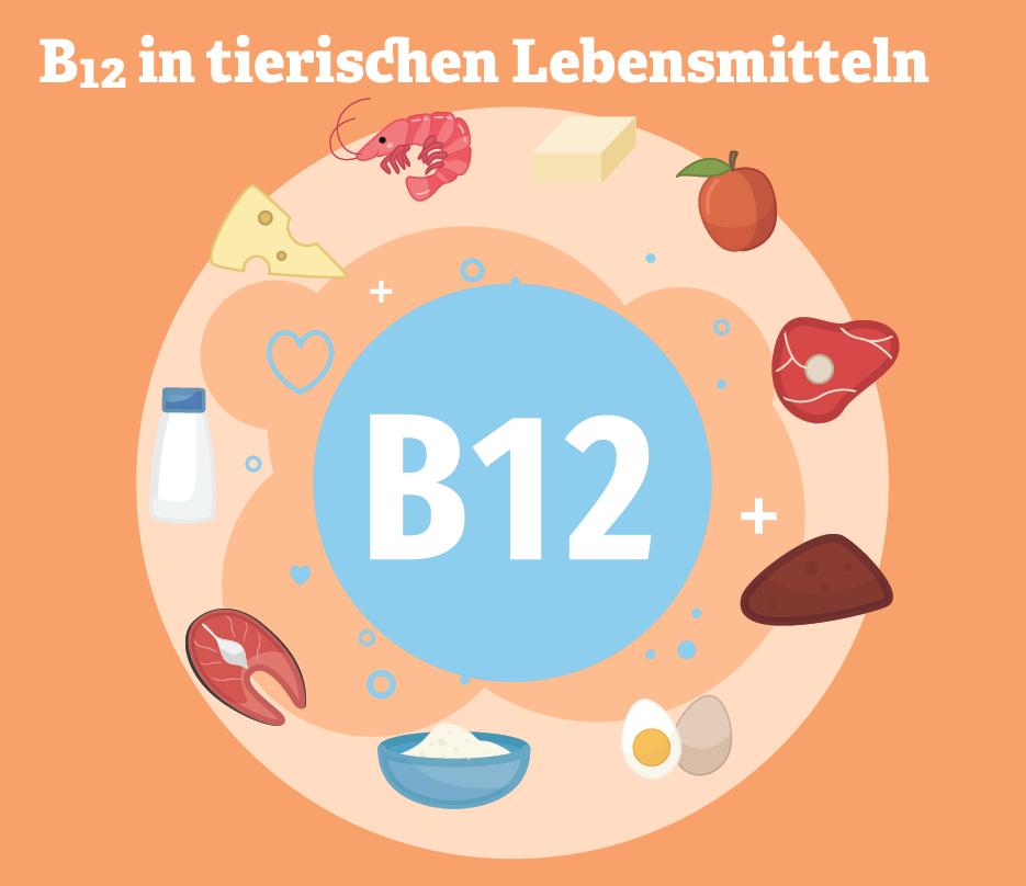 Grafik: B12 in tierischen Lebensmitteln