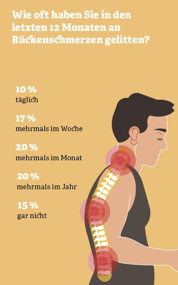 Grafik: Wie oft haben Sie in den letzten 12 Monaten an Rückenschmerzen gelitten?