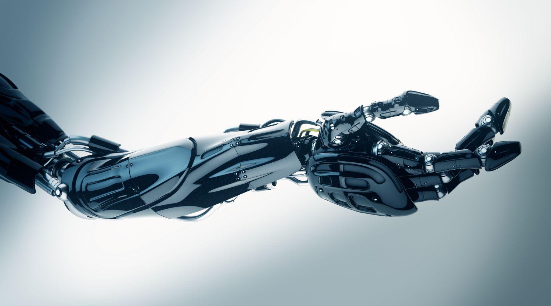 Armprothese, die wie ein Roboterarm aussieht. Thema: Orthopädische Hilfsmittel